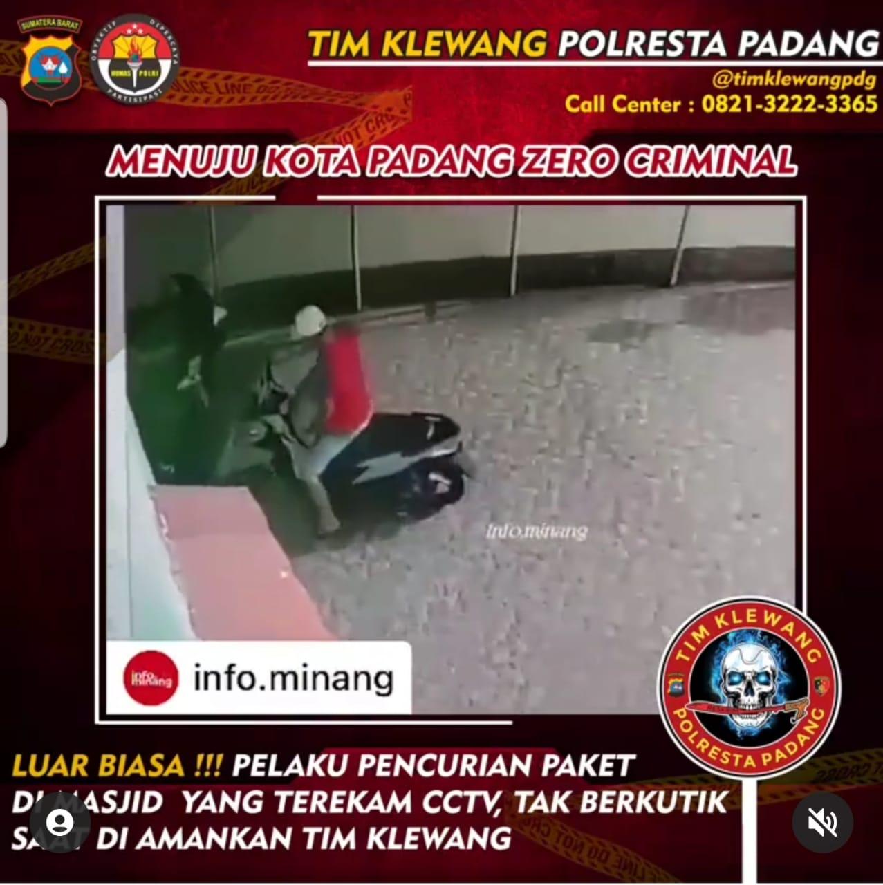 Terekam kamera pengawas CCTV, pelaku pencurian pake ini tak berkutik saat disergap tim Klewang Polresta Padang